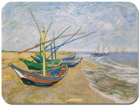 Vincent Van Gogh Saintes-Maries Mouse Mat. Fishing Boats on the Beach Mouse Pad